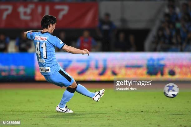 Akihiro Ienaga of Kawasaki Frontale scores the first goal during the JLeague Levain Cup quarter final first leg match between Kawasaki Frontale and...