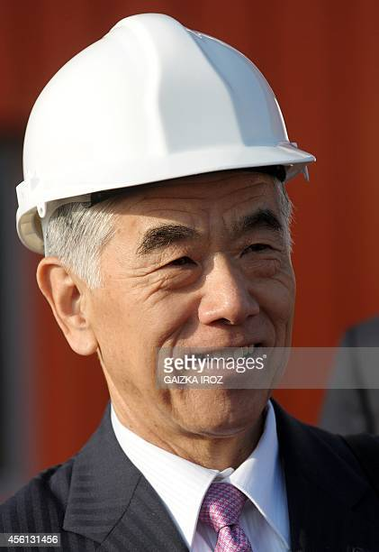 Akihiro Nikkaku president of Tokyobased carbon fiber producer Toray Industries attends the inauguration of a new plant in Lacq on September 26 2014...