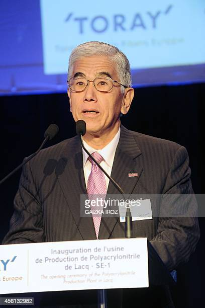Akihiro Nikkaku president of Tokyobased carbon fiber producer Toray Industries addresses the inauguration ceremony of a new Toray Industries plant in...