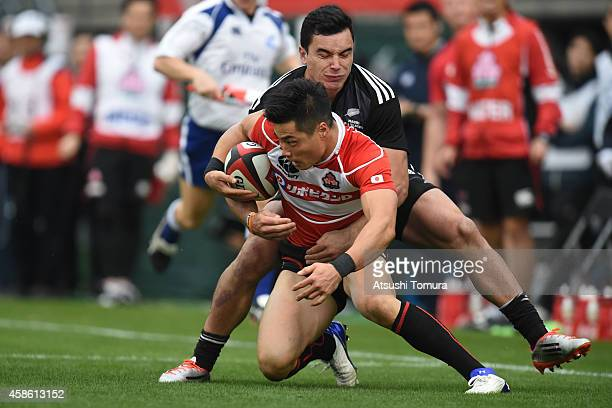 Akihito Yamada of Japan in action during the international friendly match between Maori All Blacks and Japan at the Prince Chichibu Stadium on...