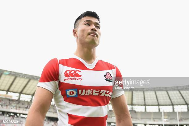 Akihito Yamada of Japan looks dejected after the international rugby friendly match between Japan and Ireland at Ajinomoto Stadium on June 24 2017 in...