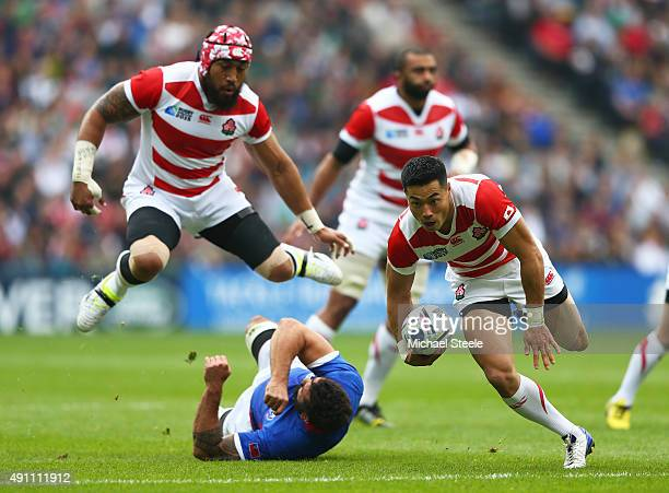 Akihito Yamada of Japan makes a break during the 2015 Rugby World Cup Pool B match between Samoa and Japan at Stadium mk on October 3 2015 in Milton...