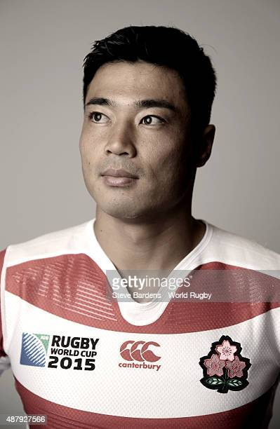 Akihito Yamada of Japan poses for a portrait during the Japan Rugby World Cup 2015 squad photo call in Brighton on September 12 2015 Photo by Steve...