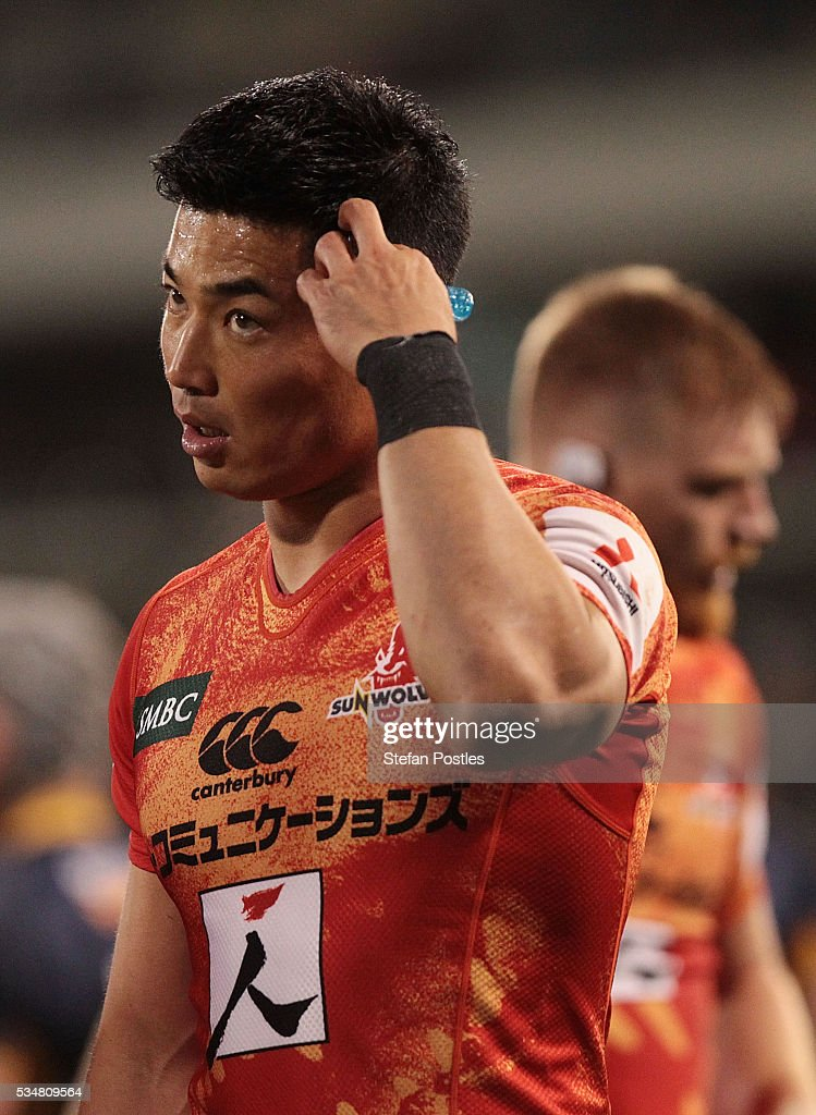 <a gi-track='captionPersonalityLinkClicked' href=/galleries/search?phrase=Akihito+Yamada&family=editorial&specificpeople=4070668 ng-click='$event.stopPropagation()'>Akihito Yamada</a> of the Sunwolves reacts during the round 14 Super Rugby match between the Brumbies and the Sunwolves at GIO Stadium on May 28, 2016 in Canberra, Australia.