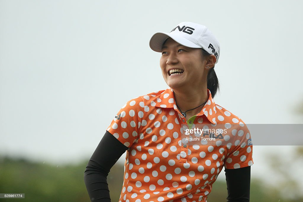 Akiho Sato of Japan smiles during the first round of the CyberAgent Ladies Golf Tournament at the Grand Fields Country Club on April 29, 2016 in Mishima, Japan.