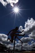 Akiko Ito of Japan competes in the women's 400m hurdles heats during day three of the IAAF World Junior Championships at Hayward Field on July 24...