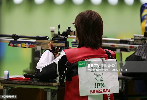 Akiko Sega of Japan competes in the R5 mixed 10M air rifle prone SH2 qualifying on day 13 of the 2016 Rio Paralympic Games on September 13 2016 in...