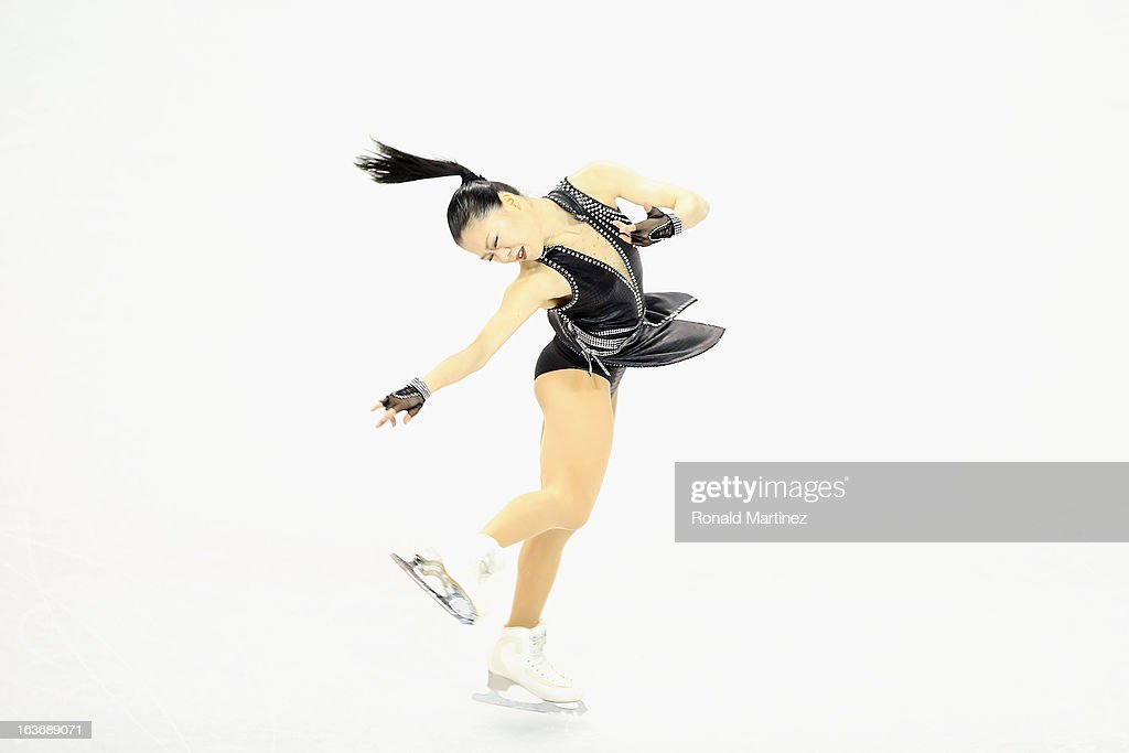<a gi-track='captionPersonalityLinkClicked' href=/galleries/search?phrase=Akiko+Suzuki&family=editorial&specificpeople=5621783 ng-click='$event.stopPropagation()'>Akiko Suzuki</a> of Japan competes in the Ladies Short Program during the 2013 ISU World Figure Skating Championships at Budweiser Gardens on March 14, 2013 in London, Canada.
