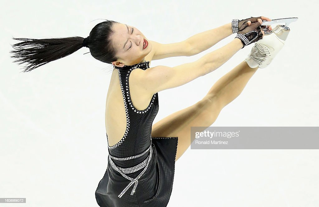 Akiko Suzuki of Japan competes in the Ladies Short Program during the 2013 ISU World Figure Skating Championships at Budweiser Gardens on March 14, 2013 in London, Canada.