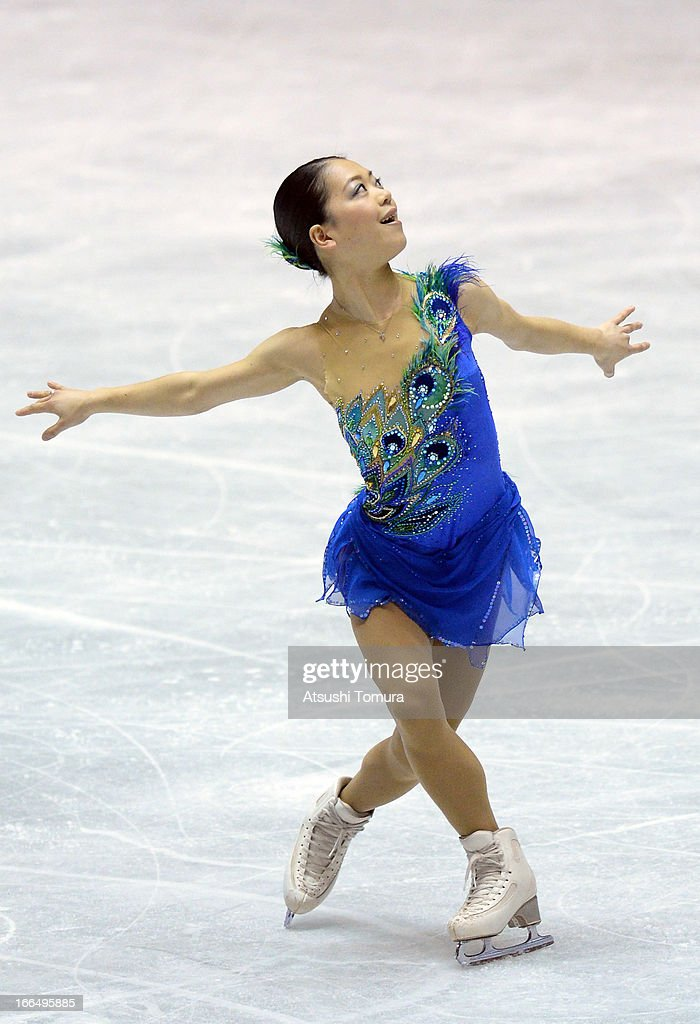 <a gi-track='captionPersonalityLinkClicked' href=/galleries/search?phrase=Akiko+Suzuki&family=editorial&specificpeople=5621783 ng-click='$event.stopPropagation()'>Akiko Suzuki</a> of Japan competes in the ladies's free skating during day three of the ISU World Team Trophy at Yoyogi National Gymnasium on April 13, 2013 in Tokyo, Japan.