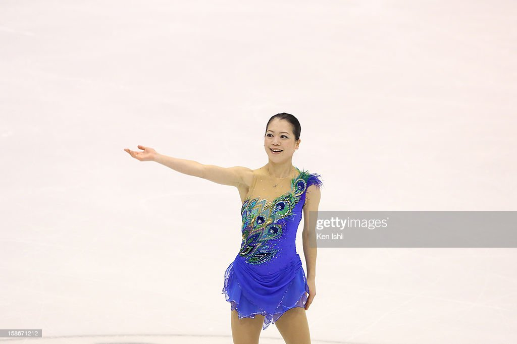 Akiko Suzuki waves to fans after the Women's Free Program during day three of the 81st Japan Figure Skating Championships at Makomanai Sekisui Heim Ice Arena on December 23, 2012 in Sapporo, Japan.