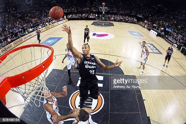 Akil Mitchell of the Breakers puts up a shot during the round 10 NBL match between the New Zealand Breakers and the Brisbane Bullets at Vector Arena...