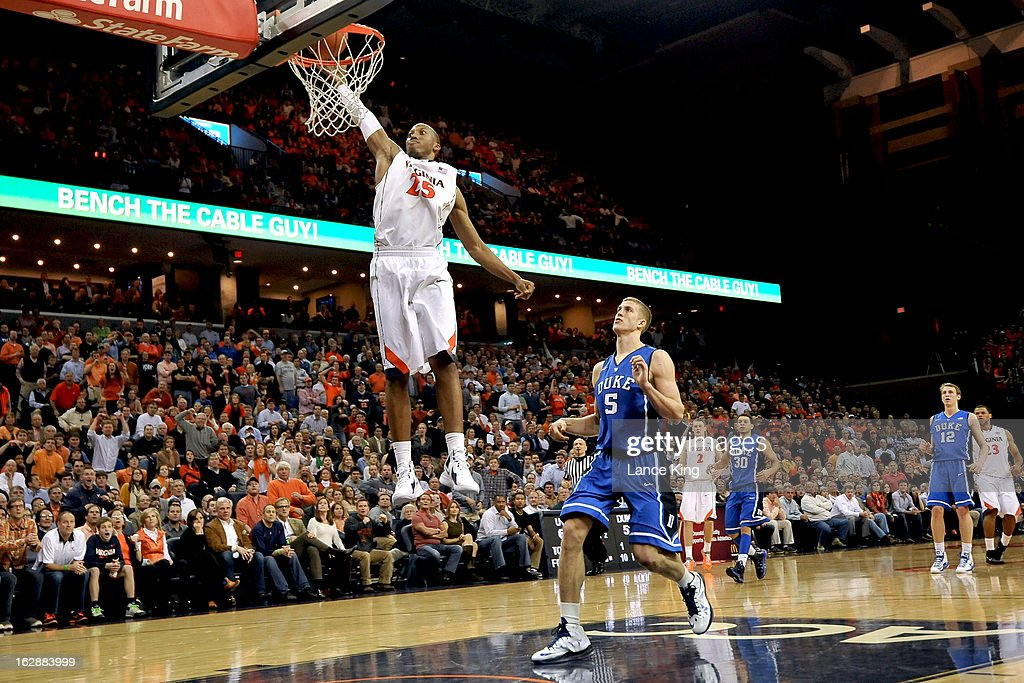 Akil Mitchell #25 of the Virginia Cavaliers goes up for a dunk against the Duke Blue Devils at John Paul Jones Arena on February 28, 2013 in Charlottesville, Virginia. Virginia defeated Duke 73-68.