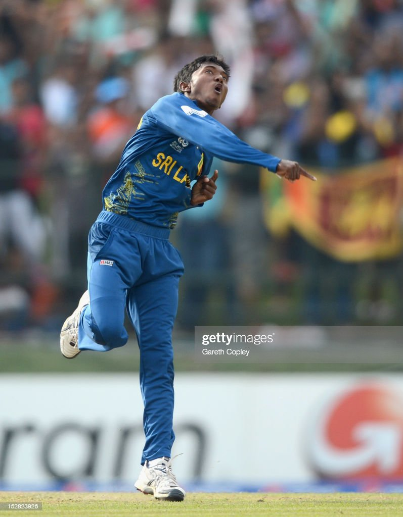 Akila Dananjaya of Sri Lanka celebrates dismissing Martin Guptil of New Zealand during the ICC World Twenty20 2012 Super Eights Group 1 match between Sri Lanka and New Zealand at Pallekele Cricket Stadium on September 27, 2012 in Kandy, Sri Lanka.