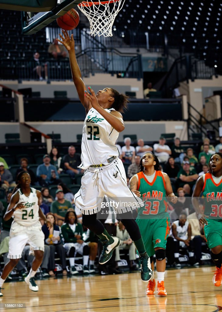Akila McDonald #32 of the South Florida Bulls drives to the basket against the Florida A&M Rattlers during the game at the Sun Dome on December 29, 2012 in Tampa, Florida.