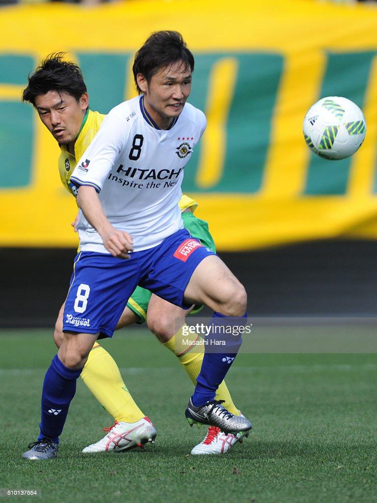Akimi Barada of Kashiwa Reysol in action during the preseason friendly match between JEF United Chiba and Kashiwa Reysol at the Fukuda Denshi Arena on February 14, 2016 in Chiba, Japan.
