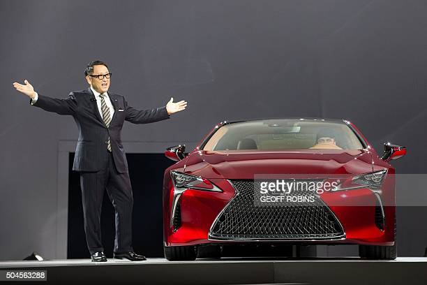 Akin Toyoda Chief Branding Officer and Master Driver with Lexus unveils the Lexus LC500 at the North American debut during the company's press...