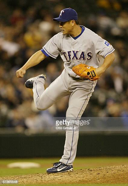 Akinori Otsuka of the Texas Rangers pitches against the Seattle Mariners on April 18 2006 at Safeco Field in Seattle Washington
