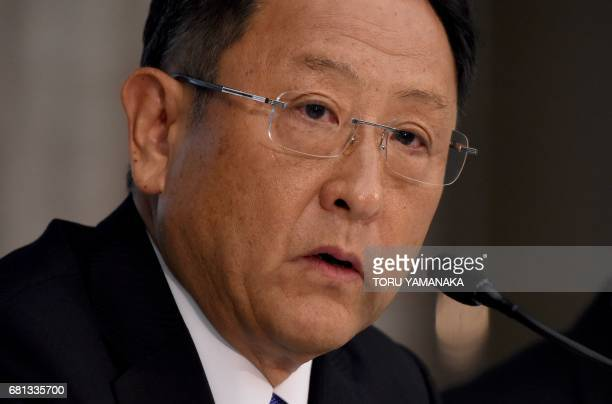Akio Toyoda president of Japan's auto giant Toyota Motor answers questions during a press conference to announce the company's 2017 financial results...