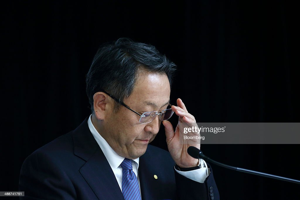 <a gi-track='captionPersonalityLinkClicked' href=/galleries/search?phrase=Akio+Toyoda&family=editorial&specificpeople=2334399 ng-click='$event.stopPropagation()'>Akio Toyoda</a>, president of Toyota Motor Corp., adjusts his glasses during a news conference in Tokyo, Japan, on Thursday, May 8, 2014. Toyota, the world's largest carmaker, forecast profit will fall from last year's record as demand slumps in Japan, competition intensifies in the U.S. and the yen is no longer the boon it used to be. Photographer: Tomohiro Ohsumi/Bloomberg via Getty Images