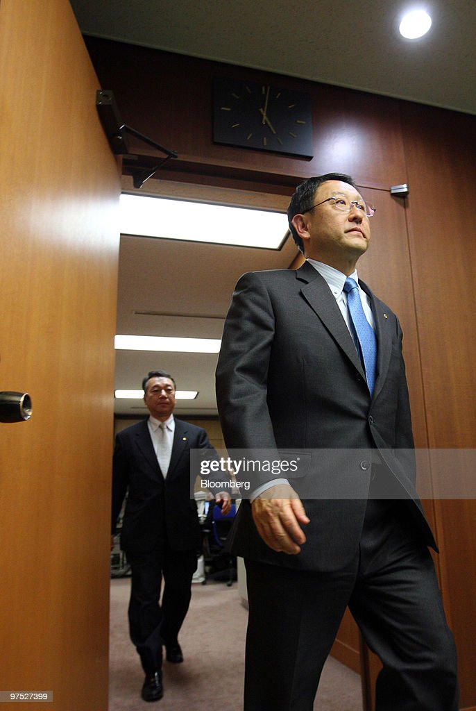 Akio Toyoda, president of Toyota Motor Corp., arrives for a meeting with Seiji Maehara, Japan's minister for land and transport, unseen, at the ministry in Tokyo, Japan, on Monday, March 8, 2010. Toyota Motor Corp.'s North American sales may recover in March thanks to new sales incentives introduced by the company, Toyoda said. Photographer: Tomohiro Ohsumi/Bloomberg via Getty Images
