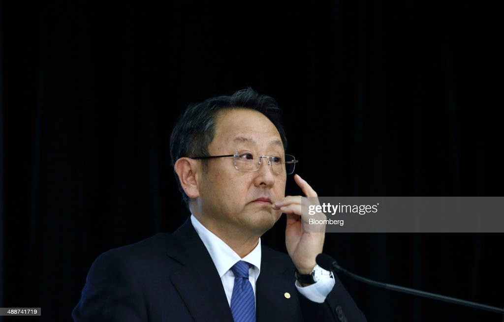 <a gi-track='captionPersonalityLinkClicked' href=/galleries/search?phrase=Akio+Toyoda&family=editorial&specificpeople=2334399 ng-click='$event.stopPropagation()'>Akio Toyoda</a>, president of Toyota Motor Corp., attends a news conference in Tokyo, Japan, on Thursday, May 8, 2014. Toyota, the world's largest carmaker, forecast profit will fall from last year's record as demand slumps in Japan, competition intensifies in the U.S. and the yen is no longer the boon it used to be. Photographer: Tomohiro Ohsumi/Bloomberg via Getty Images