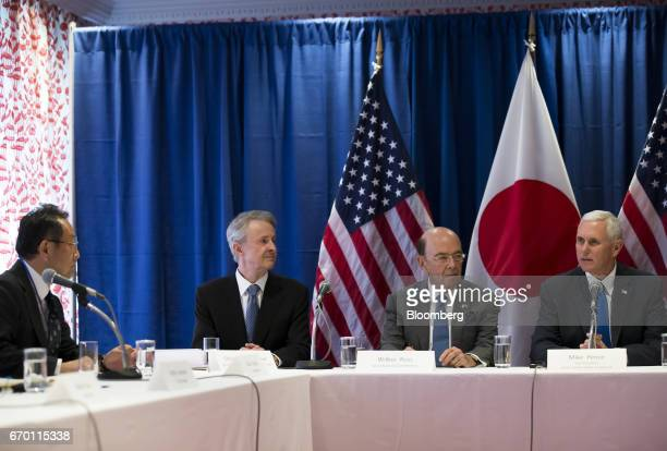 Akio Toyoda president of Toyota Motor Corp from left to right Christopher LaFleur chairman of the American Chamber of Commerce in Japan Wilbur Ross...