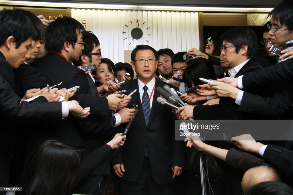 <a gi-track='captionPersonalityLinkClicked' href=/galleries/search?phrase=Akio+Toyoda&family=editorial&specificpeople=2334399 ng-click='$event.stopPropagation()'>Akio Toyoda</a>, president of Toyota Motor Corp., is surrounded by journalists after meeting with Seiji Maehara, Japan's minister for land and transport, at the ministry in Tokyo, Japan, on Tuesday, Feb. 9, 2010. Toyota Motor Corp. will recall 437,000 hybrid vehicles globally to fix faulty braking systems on four models, including the Prius, adding to almost 8 million vehicles the company is repairing for separate defects. Photographer: Haruyoshi Yamaguchi/Bloomberg via Getty Images