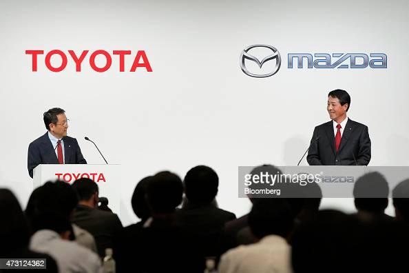 Toyota Motor Corp President Akio Toyoda And Mazda Motor