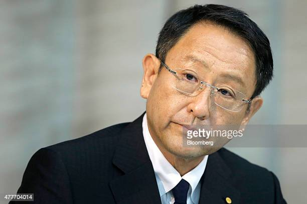 Akio Toyoda president of Toyota Motor Corp listens during a news conference in Tokyo Japan on Friday June 19 2015 Toyoda said he's confident the...