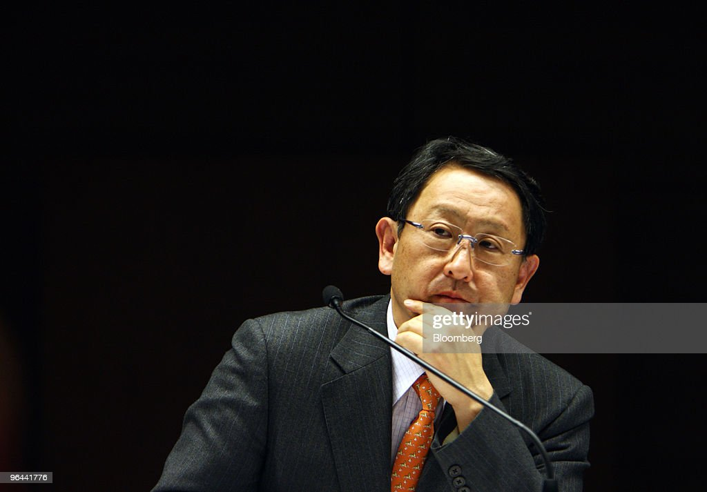 <a gi-track='captionPersonalityLinkClicked' href=/galleries/search?phrase=Akio+Toyoda&family=editorial&specificpeople=2334399 ng-click='$event.stopPropagation()'>Akio Toyoda</a>, president of Toyota Motor Corp., listens to a question from a reporter during a news conference in Nagoya, Japan, on Friday, Feb. 5, 2010. Toyota Motor Corp.'s U.S. recall of 5.6 million vehicles for possible unintended acceleration may spur regulators to require braking technology that prevents such sudden bursts of speed in all future vehicles. Photographer: Tomohiro Ohsumi/Bloomberg via Getty Images