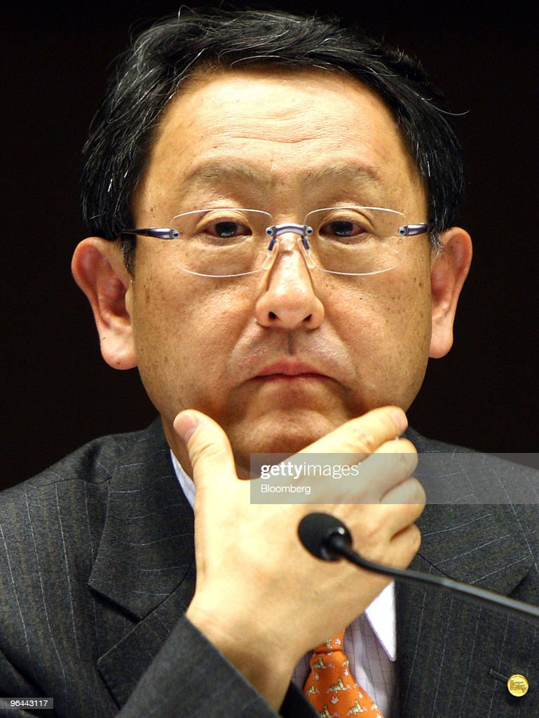 Akio Toyoda, president of Toyota Motor Corp., listens to a reporter's question during a news conference in Nagoya, Japan, on Friday, Feb. 5, 2010. Toyota Motor Corp.'s U.S. recall of 5.6 million vehicles for possible unintended acceleration may spur regulators to require braking technology that prevents such sudden bursts of speed in all future vehicles. Photographer: Tomohiro Ohsumi/Bloomberg via Getty Images