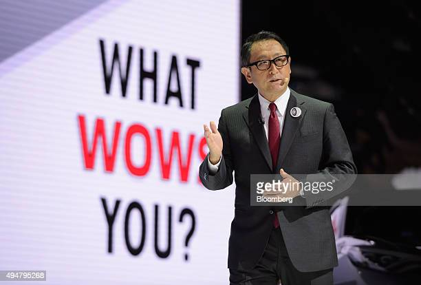 Akio Toyoda president of Toyota Motor Corp speaks at the Tokyo Motor Show in Tokyo Japan on Wednesday Oct 28 2015 Toyota Motor Corp Honda Motor Co...