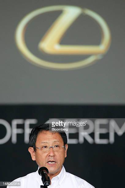 Akio Toyoda president of Toyota Motor Corp speaks during a lineoff ceremony for the company's Lexus ES series sedans at Toyota Motor Kyushu Inc's...