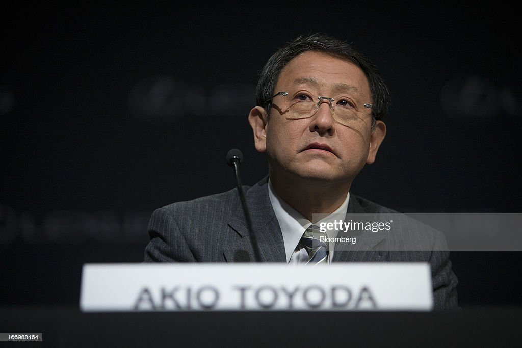 <a gi-track='captionPersonalityLinkClicked' href=/galleries/search?phrase=Akio+Toyoda&family=editorial&specificpeople=2334399 ng-click='$event.stopPropagation()'>Akio Toyoda</a>, president of Toyota Motor Corp., speaks during a news conference in New York, U.S., on Friday, April 19, 2013. Toyota Motor Corp. plans to build Lexus ES 350 sedans in Kentucky, the first U.S. production for its luxury brand, Toyoda pushes to localize output in the automaker's biggest markets. Photographer: Scott Eells/Bloomberg via Getty Images