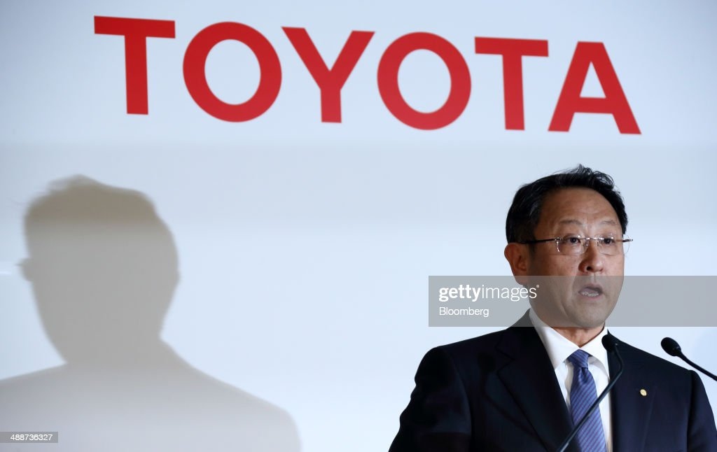 Akio Toyoda, president of Toyota Motor Corp., speaks during a news conference in Tokyo, Japan, on Thursday, May 8, 2014. Toyota, the world's largest carmaker, forecast profit will fall from last year's record as demand slumps in Japan, competition intensifies in the U.S. and the yen is no longer the boon it used to be. Photographer: Tomohiro Ohsumi/Bloomberg via Getty Images