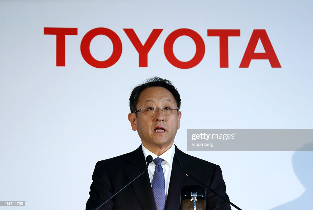 <a gi-track='captionPersonalityLinkClicked' href=/galleries/search?phrase=Akio+Toyoda&family=editorial&specificpeople=2334399 ng-click='$event.stopPropagation()'>Akio Toyoda</a>, president of Toyota Motor Corp., speaks during a news conference in Tokyo, Japan, on Thursday, May 8, 2014. Toyota, the world's largest carmaker, forecast profit will fall from last year's record as demand slumps in Japan, competition intensifies in the U.S. and the yen is no longer the boon it used to be. Photographer: Tomohiro Ohsumi/Bloomberg via Getty Images