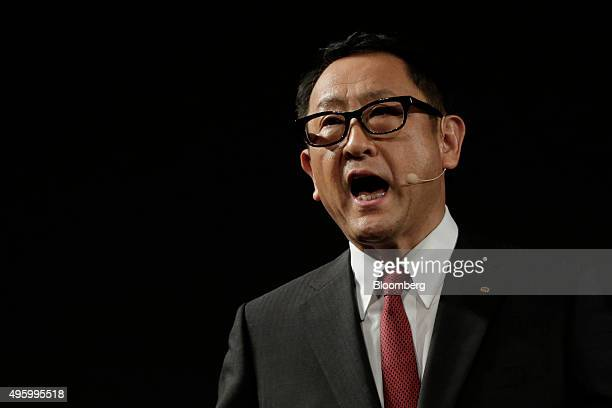 Akio Toyoda president of Toyota Motor Corp speaks during a news conference in Tokyo Japan on Friday Nov 6 2015 Toyota's operations at the TRI will...