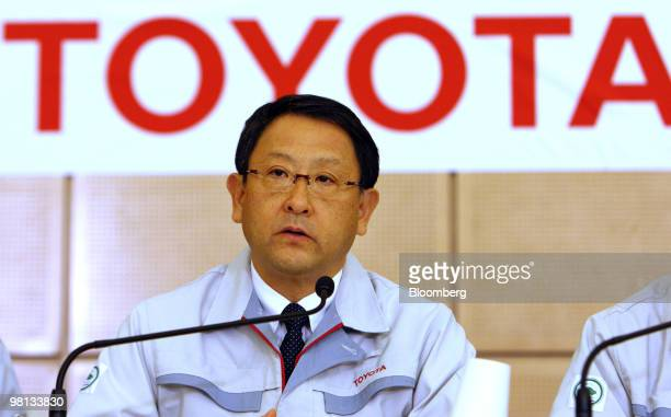 Akio Toyoda president of Toyota Motor Corp speaks during a news conference after the first meeting of the Special Committee for Global Quality in...