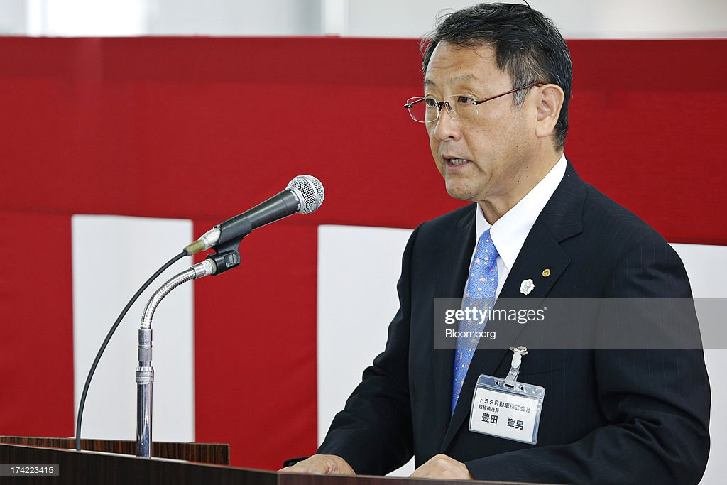 <a gi-track='captionPersonalityLinkClicked' href=/galleries/search?phrase=Akio+Toyoda&family=editorial&specificpeople=2334399 ng-click='$event.stopPropagation()'>Akio Toyoda</a>, president of Toyota Motor Corp., speaks during the completion ceremony of the company's Tajimi service center in Tajimi, Gifu Prefecture, Japan, on Monday, July 22, 2013. Toyota is the world's largest car maker. Photographer: Kiyoshi Ota/Bloomberg via Getty Images