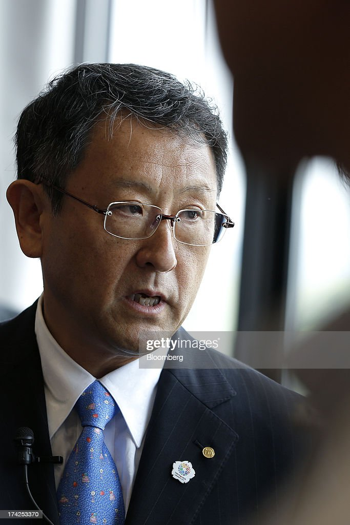 <a gi-track='captionPersonalityLinkClicked' href=/galleries/search?phrase=Akio+Toyoda&family=editorial&specificpeople=2334399 ng-click='$event.stopPropagation()'>Akio Toyoda</a>, president of Toyota Motor Corp., speaks to members of the media after the completion ceremony for the company's Tajimi service center in Tajimi, Gifu Prefecture, Japan, on Monday, July 22, 2013. Toyota is the world's largest car maker. Photographer: Kiyoshi Ota/Bloomberg via Getty Images