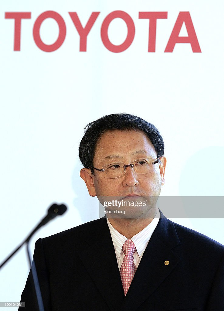 Akio Toyoda, president of Toyota Motor Corp., speaks to the media during a news conference at the Tesla Motors Inc. headquarters in Palo Alto, California, U.S., on Thursday, May 20, 2010. Toyota Motor Corp. will acquire a $50 million stake in California electric-car maker Tesla Motors Inc. as automakers compete to introduce less-polluting vehicles in the U.S. Photographer: Tony Avelar/Bloomberg via Getty Images