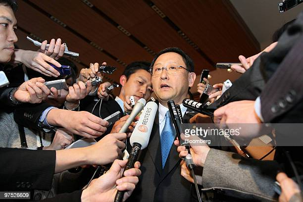 Akio Toyoda president of Toyota Motor Corp speaks to the media following his meeting with Japan's Prime Minister Yukio Hatoyama not pictured at the...