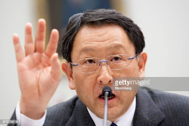 Akio Toyoda president of Toyota Motor Corp testifies at a House Oversight and Government Reform Committee hearing in Washington DC US on Wednesday...