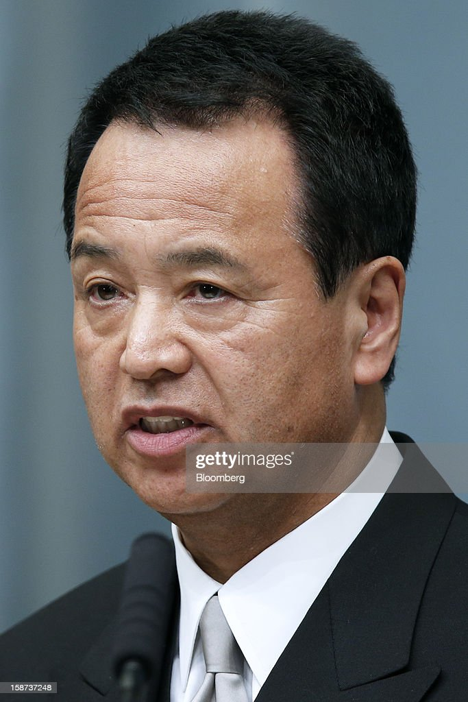 Akira Amari, Japan's newly appointed economic revitalization minister, speaks during a news conference at the prime minister's official residence in Tokyo, Japan, on Thursday, Dec. 27, 2012. Japan's parliament confirmed Shinzo Abe as the nation's seventh prime minister in six years, returning him to the office he left in 2007 after his party regained power in a landslide election victory last week. Photographer: Kiyoshi Ota/Bloomberg via Getty Images