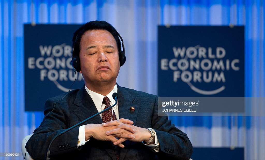Akira Amari, Minister for Economic Revitalization and Minister for Economic and Fiscal Policy of Japan, attends a session of the World Economic Forum Annual Meeting (WEF) on January 26, 2013 at the Swiss resort of Davos.