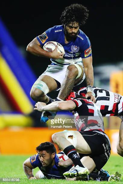 Akira Ioane of Auckland leaps over players during the round one Mitre 10 Cup match between Counties Manukau and Auckland at ECOLight Stadium on...