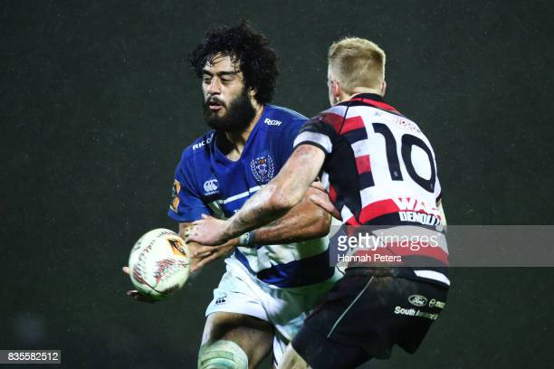 Akira Ioane of Auckland passes the ball out during the round one Mitre 10 Cup match between Counties Manukau and Auckland at ECOLight Stadium on...