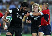 Akira Ioane of New Zealand competes with Ben Vellacott of Scotland during the World Rugby U20 Championship 2015 match New Zealand and Scotland...