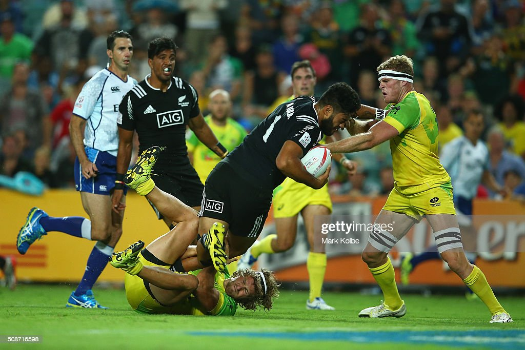 Akira Ioane of New Zealand is tackled during the match between Australia and New Zealand at the 2016 Sydney Sevens at Allianz Stadium on February 6, 2016 in Sydney, Australia.